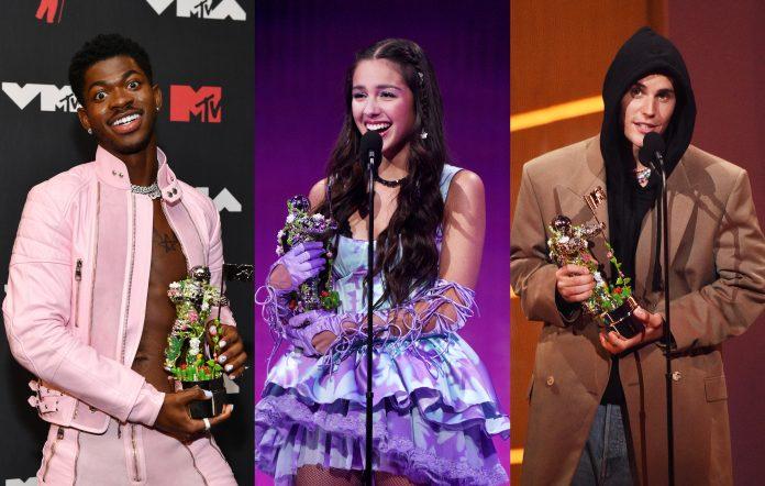 Lil Nas X (Noam Galai/MTV VMAs 2021/Getty Images for MTV/ViacomCBS) + Olivia Rodrigo (Kevin Mazur/MTV VMAs 2021/Getty Images for MTV/ViacomCBS) + Justin Bieber (Kevin Mazur/MTV VMAs 2021/Getty Images for MTV/ViacomCBS)