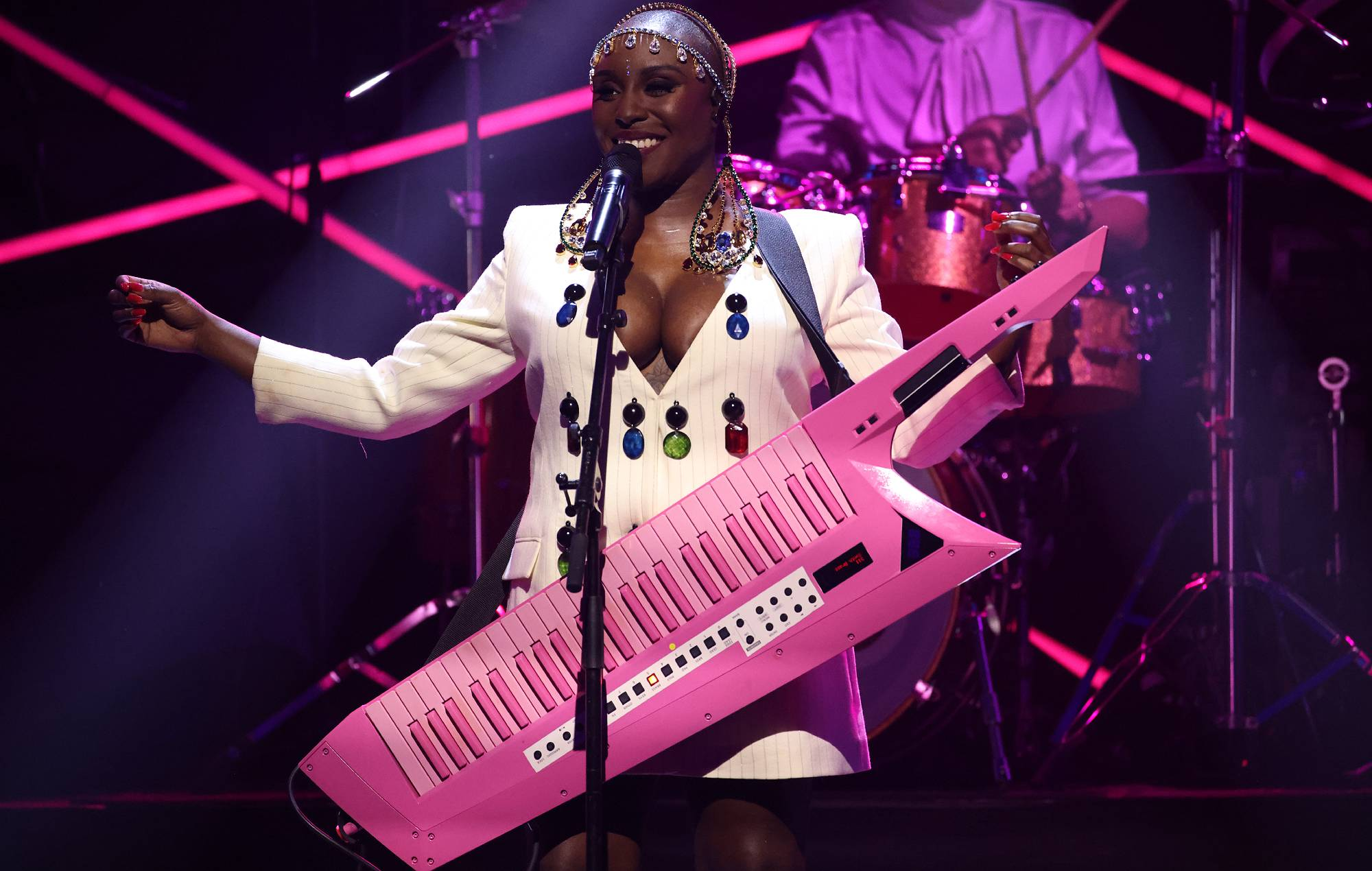 Laura Mvula onstage during the Hyundai Mercury Music Prize 2021 at the Eventim Apollo, Hammersmith on September 09, 2021 in London, England. (Photo by JMEnternational/Getty Images)