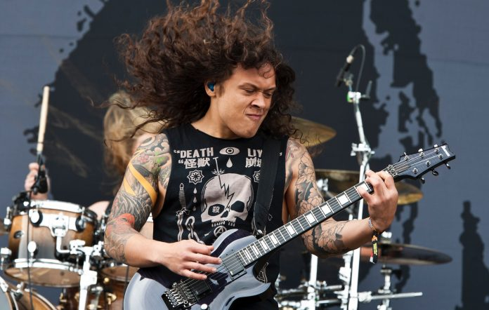 Nick Hipa performing with As I Lay Dying. Credit: Steve Thorne/Redferns via Getty Images