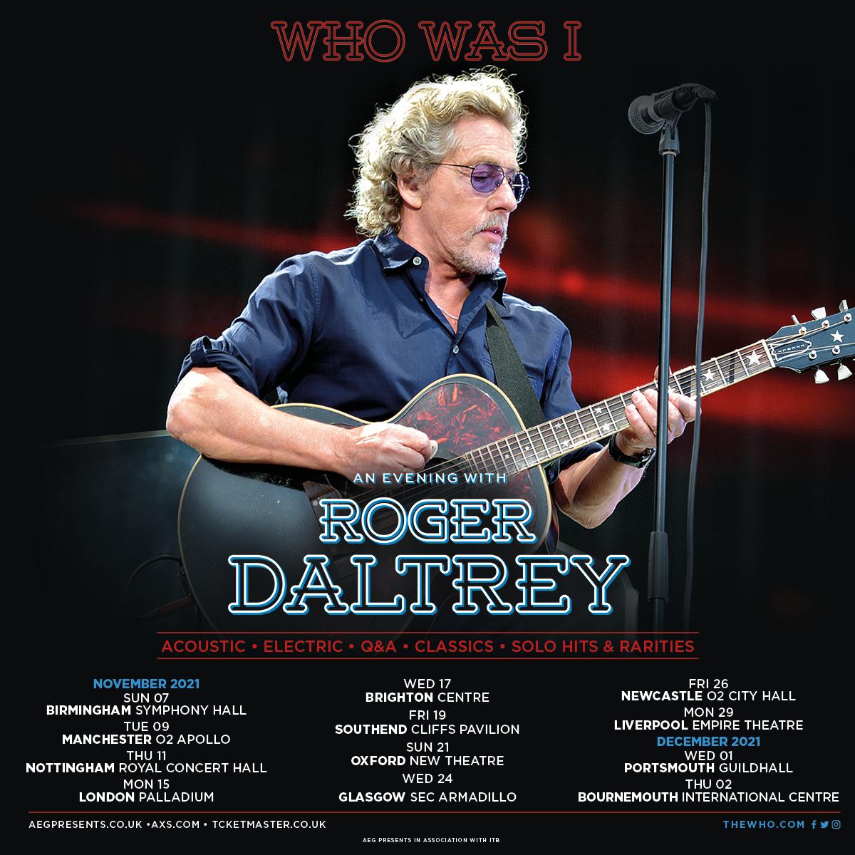 Roger Daltrey 2021 UK tour