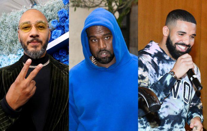 Swizz Beats + Kanye West + Drake. Credits: Johnny Nunez/WireImage + Marc Piasecki/GC Images + George Pimentel/Getty Images