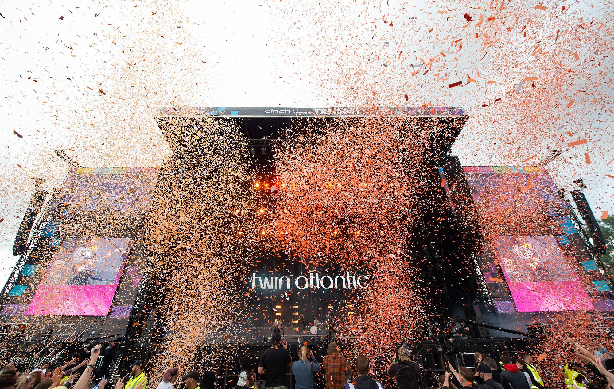 Confetti during Twin Atlantic performance on the Main Stage on the second day of TRNSMT Festival 2021 on September 11, 2021 in Glasgow, Scotland. (Photo by Roberto Ricciuti/Redferns)