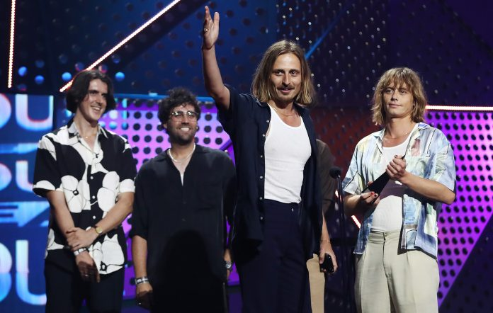 Lime Cordiale accept the ARIA Award for Best Breakthrough Artist at the 2020 ARIA Awards.