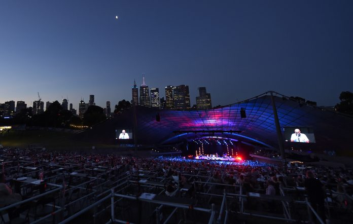 Archie Roach performs on stage at the Myer Music Bowl in Melbourne