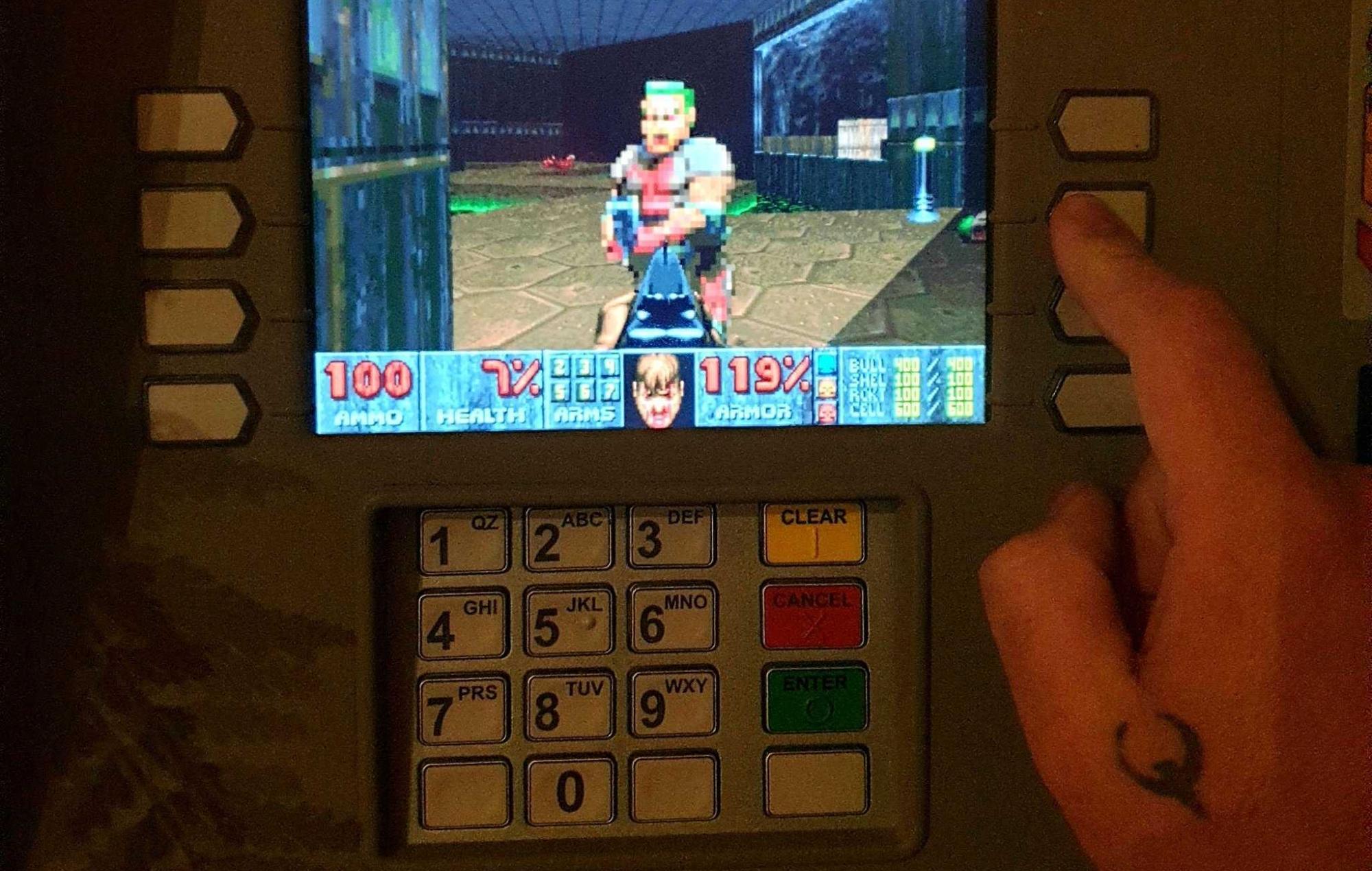 Doom on cash machine with quake tattoo