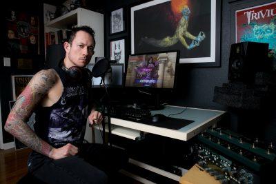 Matt Heafy of Trivium with his streaming set-up. Credit: Bethesda