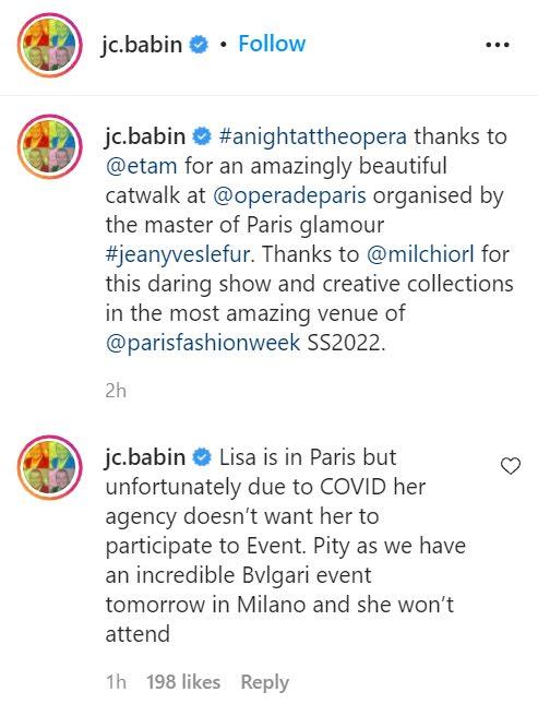 bvlgari ceo instagram blackpink lisa paris fashion week 20211006