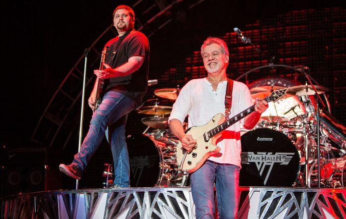 Eddie Van Halen (R) and Wolfgang Van Halen in 2015